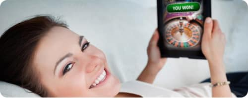 Woman playing live casino